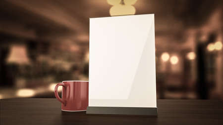 Stand for booklets with white sheets of paper acrylic table tent card mockup on wooden table with cup of coffee on blurred background 3d render