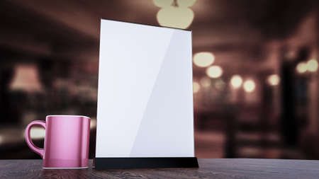 sign holder: Stand for booklets with white sheets of paper acrylic table tent card mockup on wooden table with cup of coffee on blurred background 3d render Stock Photo