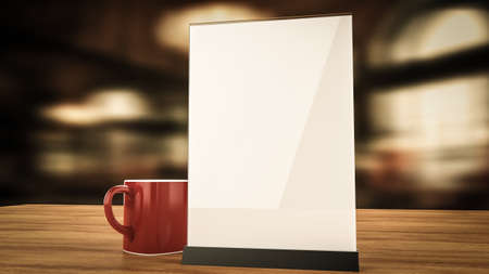 cafe table: Stand for booklets with white sheets of paper acrylic table tent card mockup on wooden table with cup of coffee on blurred background 3d render Stock Photo