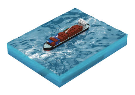 bulk carrier: container cargo ship on section of sea, water carriage and maritime transport, Ship, boat, vessel, 3d render for infographic.