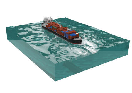 vessel: container cargo ship on section of sea, water carriage and maritime transport, Ship, boat, vessel, 3d render for infographic.