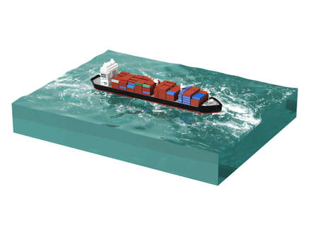 cargo vessel: container cargo ship on section of sea, water carriage and maritime transport, Ship, boat, vessel, 3d render for infographic.