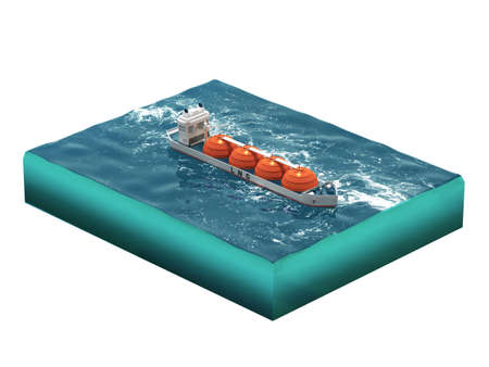 Liquid natural gas tanker ship on section of sea, water carriage and maritime transport, LPG, vessel, energy 3d render for infographic. isolated.