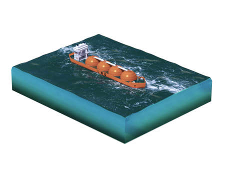 supertanker: Liquid natural gas tanker ship on section of sea, water carriage and maritime transport, LPG, vessel, energy 3d render for infographic. isolated.