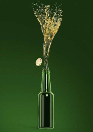 green beer bottle: green beer bottle with stream fresh drink and cap off isolated 3d render