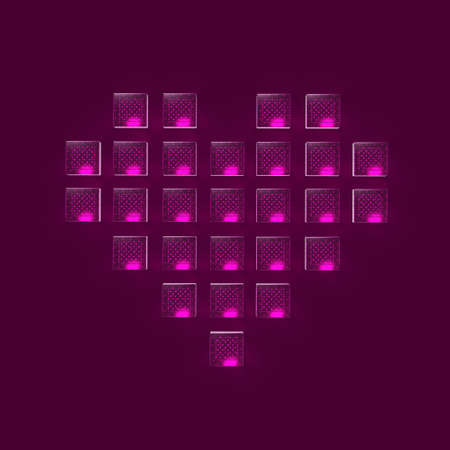 gaming: heart made of glossy glowing glass cubes pixels, gaming, love bacground 3d render