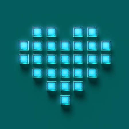 光沢のある光るガラス キューブ ピクセル, ゲーム, 愛暗 3 d レンダリングの作られた心