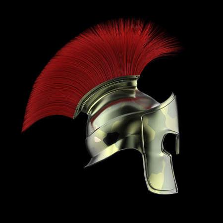 hoplite: high quality spartan helmet, Greek roman warrior Gladiator, legionnaire heroic soldier, sprts fan, 3d render isolated