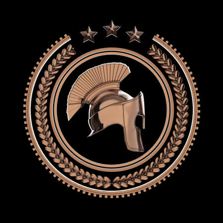 sports team: High detailed spartan, roman, greek helmet in laurel wreath badge with rings and stars. sports military fighting badge icon, 3d rendering isolated on black background. Stock Photo