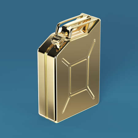gold cans: glossy golden jerry can fuel canister 3d render isolated