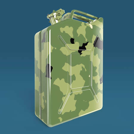 gold cans: military camouflage metal jerry can fuel canister 3d render isolated