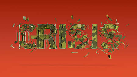 financial emergency: 3d illustration of cracked word crisis isolated on color bacground, financial, world, war crisis concept render