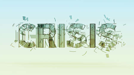 financial world: 3d illustration of cracked word crisis isolated on color bacground, financial, world, war crisis concept render