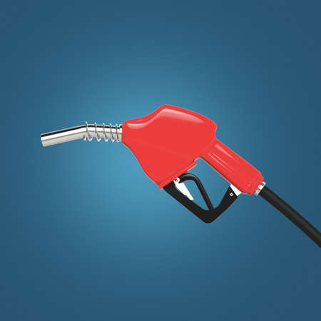 fillup: filling gun. gas refuelling nozzle, gasoline pump 3d render isolated