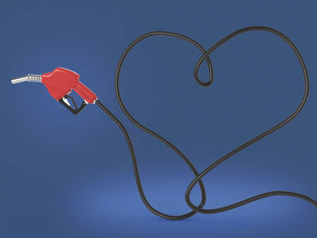refueling: Automotive refueling gun. Car fuel nozzle and the hose in the shape heart. Isolated. 3D render Stock Photo