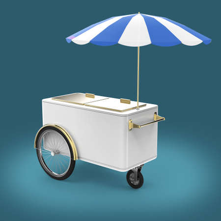 hot wheels: Promotion counter on wheels with umbrella, food, ice cream, hot dog push cart Retail Trade Stand Isolated  3d render Stock Photo