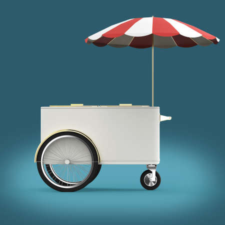 Promotion counter on wheels with umbrella, food, ice cream, hot dog push cart Retail Trade Stand Isolated  3d render 免版税图像