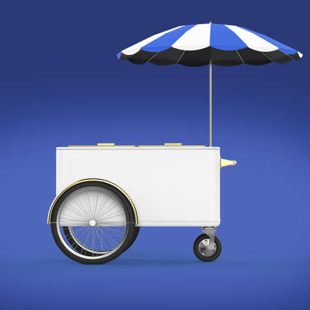 ice cream stand: Promotion counter on wheels with umbrella, food, ice cream, hot dog push cart Retail Trade Stand Isolated  3d render Stock Photo