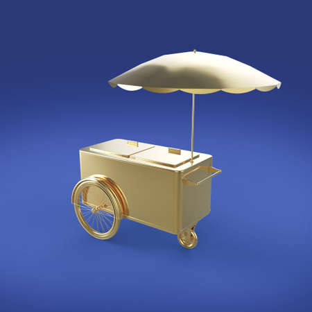 ice cream stand: Golden promotion counter on wheels with umbrella, food, ice cream, hot dog push cart Retail Trade Stand Isolated  3d render