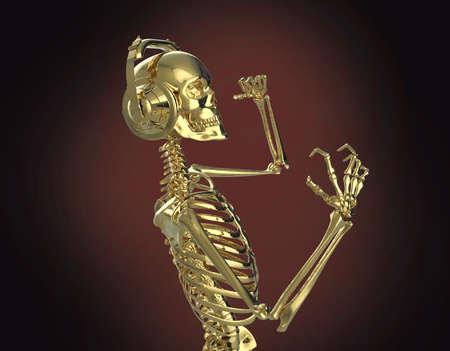 dubstep: Golden shiny metal skeleton in big earphones posing, isolated on dark background. 3d rendering party poster template