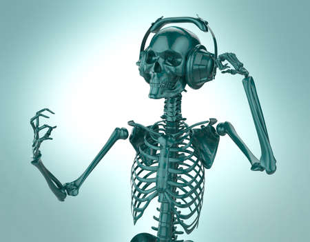 helloween: Green shiny plastic skeleton in big earphones posing isolated on light background. 3d rendering party poster template