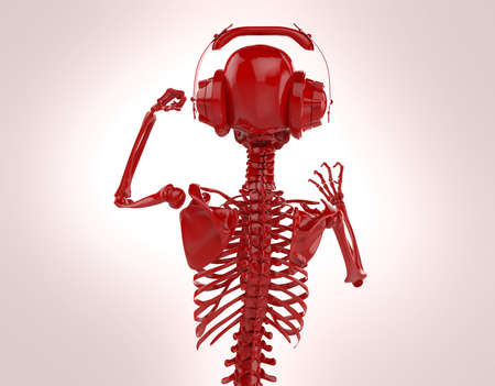 dubstep: Red shiny plastic skeleton in big earphones posing isolated on light background. 3d rendering party poster template Stock Photo