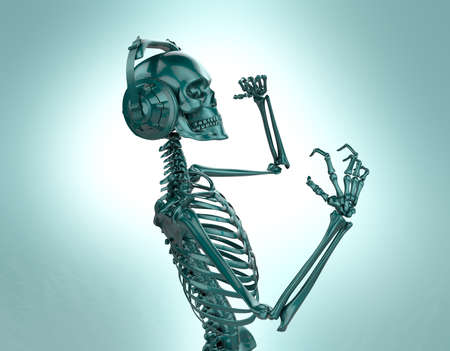 dubstep: Green shiny plastic skeleton in big earphones posing isolated on light background. 3d rendering party poster template