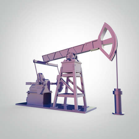 High detailed colorful metallic oil pump-jack, oil rig. isolated 3d rendering. oil, fuel industry, economy crisis illustration.