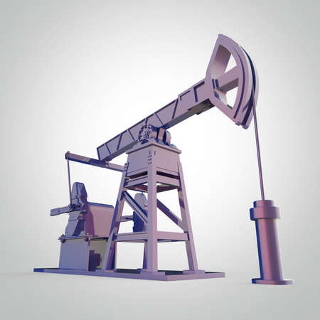 economy crisis: High detailed colorful metallic oil pump-jack, oil rig. isolated 3d rendering. oil, fuel industry, economy crisis illustration.