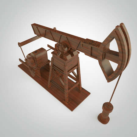 High detailed wood oil pump-jack, oil rig. isolated 3d rendering. oil, fuel industry, economy crisis illustration.