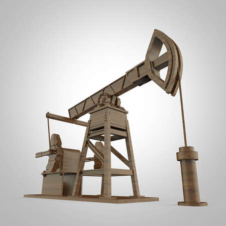 obsolescence: High detailed wood oil pump-jack, oil rig. isolated 3d rendering. oil, fuel industry, economy crisis illustration.