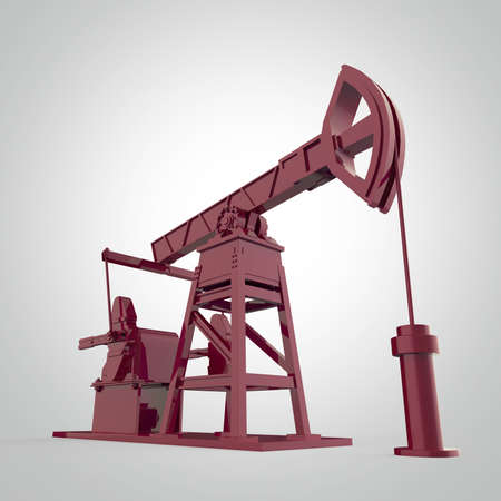 obsolescence: High detailed  red metallic oil pump-jack, oil rig. isolated 3d rendering. oil, fuel industry, economy crisis illustration.