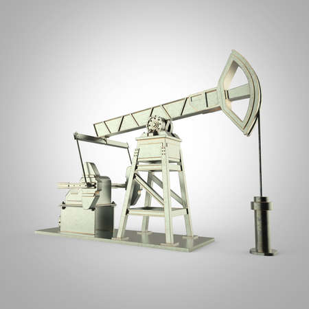 economy crisis: High detailed metal oil pump-jack, oil rig. isolated 3d rendering. oil, fuel industry, economy crisis illustration.