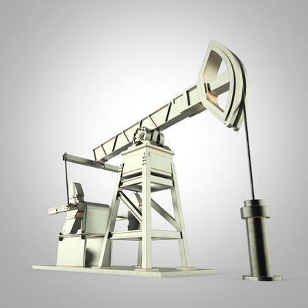 obsolescence: High detailed metal oil pump-jack, oil rig. isolated 3d rendering. oil, fuel industry, economy crisis illustration.