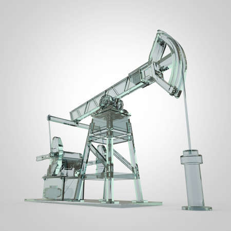 economy crisis: High detailed glass oil pump-jack, oil rig. isolated 3d rendering. oil, fuel industry, economy crisis illustration.