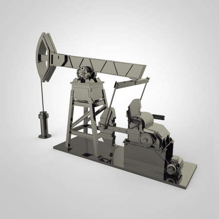 economy crisis: High detailed dark silver oil pump-jack, oil rig. isolated 3d rendering. oil, fuel industry, economy crisis illustration.