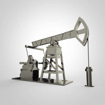 obsolescence: High detailed dark silver oil pump-jack, oil rig. isolated 3d rendering. oil, fuel industry, economy crisis illustration.