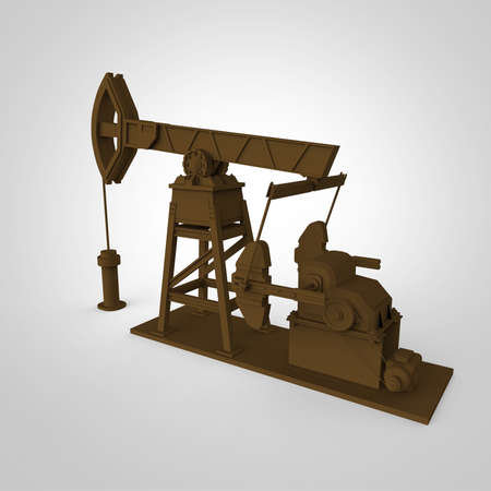 obsolescence: High detailed rusty oil pump-jack, oil rig. isolated 3d rendering. oil, fuel industry, economy crisis illustration. Stock Photo