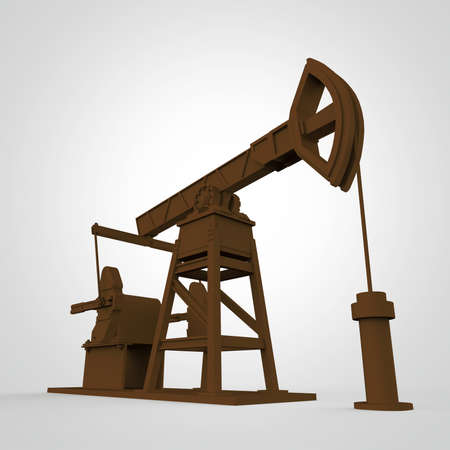 oilwell: High detailed rusty oil pump-jack, oil rig. isolated 3d rendering. oil, fuel industry, economy crisis illustration. Stock Photo