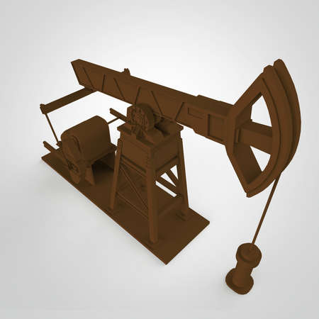 insider: High detailed rusty oil pump-jack, oil rig. isolated 3d rendering. oil, fuel industry, economy crisis illustration. Stock Photo