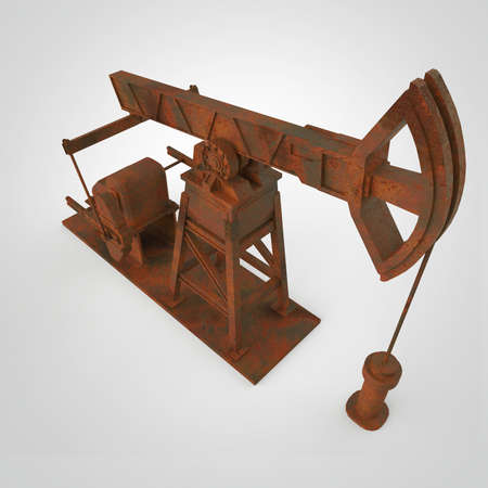 economy crisis: High detailed rusty oil pump-jack, oil rig. isolated 3d rendering. oil, fuel industry, economy crisis illustration. Stock Photo