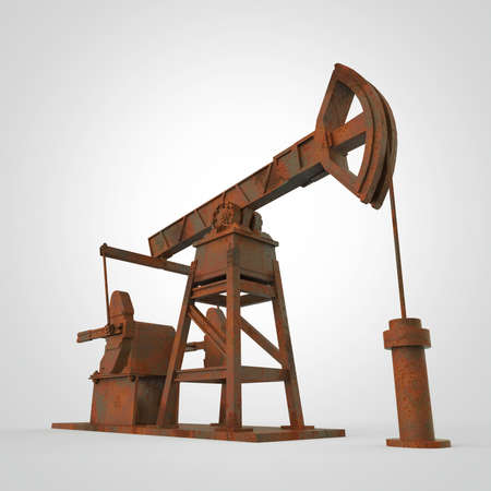 High detailed rusty oil pump-jack, oil rig. isolated 3d rendering. oil, fuel industry, economy crisis illustration. Stock Photo