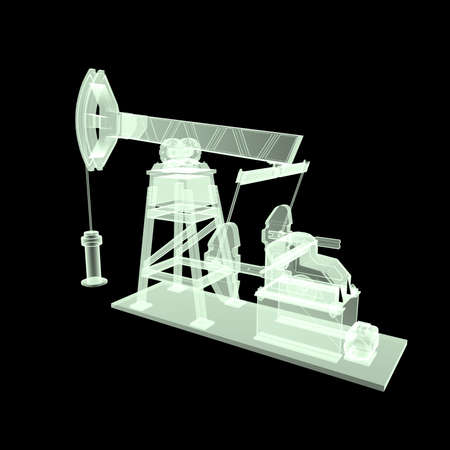 economy crisis: High detailed x-ray oil pump-jack, oil rig. isolated 3d rendering. oil, fuel industry, economy crisis illustration.