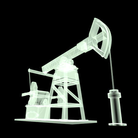 obsolescence: High detailed x-ray oil pump-jack, oil rig. isolated 3d rendering. oil, fuel industry, economy crisis illustration.