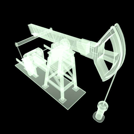 High detailed x-ray oil pump-jack, oil rig. isolated 3d rendering. oil, fuel industry, economy crisis illustration.