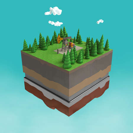 Oil pump jack on small slice of earth with trees, clouds, layers of soil stone and oil. Oil gas pump rig energy industrial machine for petroleum.3d render isolated. infographic.