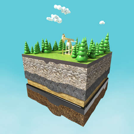 geological: Oil pump jack on small slice of earth with trees, clouds, layers of soil stone and oil. Oil gas pump rig energy industrial machine for petroleum.3d render isolated. infographic.