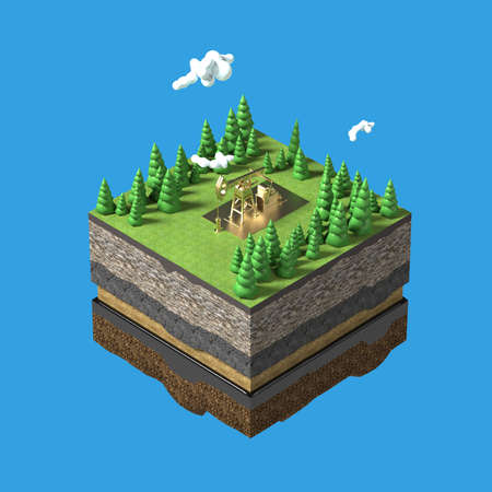 firtrees: Oil pump jack on small slice of earth with trees, clouds, layers of soil stone and oil. Oil gas pump rig energy industrial machine for petroleum.3d render isolated. infographic.