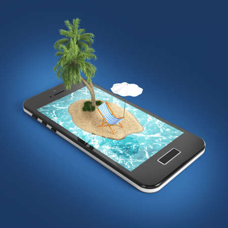 sea water: 3D render of tropical island resort with blue sea ocean water, sand beach and palm trees on smartphone screen Travel, tourism and holidays and vacations online booking app concept Stock Photo