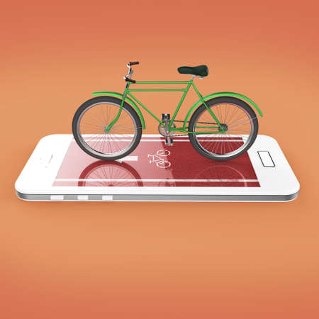 sports app: Elegant vintage bicycle on touchscreen of smartphone with bike road, digital fitness sports  bike rental app metaphor. 3d render isolated